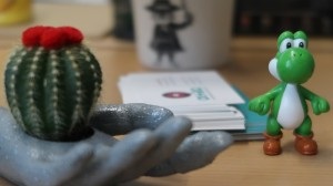 3d hand with cactus yogi looking at