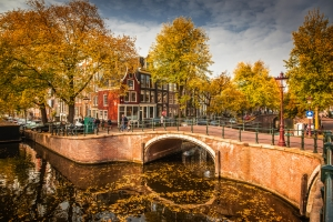 Beautiful,Canals,In,Amsterdam,In,Autum,,Holland
